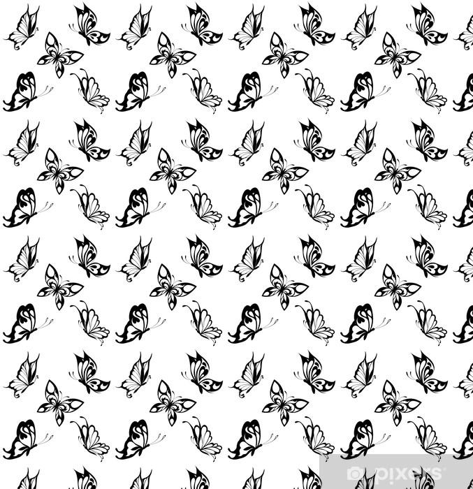 Vinylová tapeta na míru Nastavit černá bílá motýly tetování - Témata