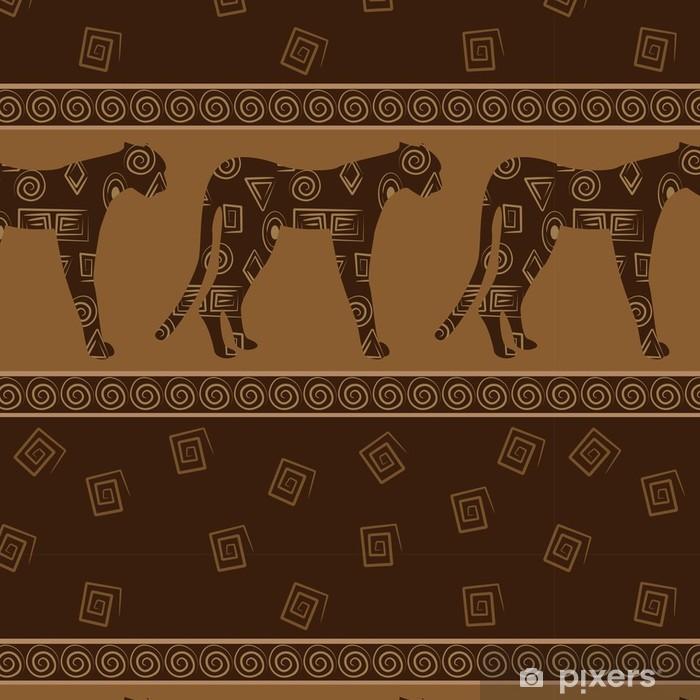 Vinylová Tapeta Africkém stylu bezešvé pozadí s leopardy -