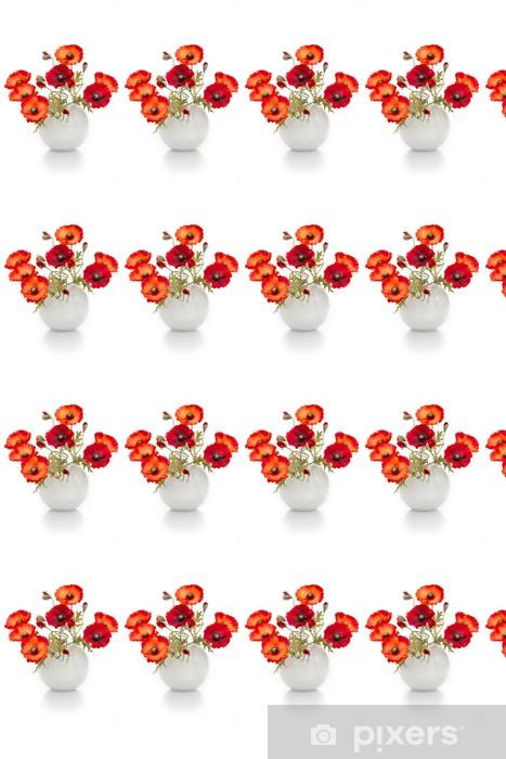 Papier peint vinyle sur mesure L'image d'un bouquet de coquelicots artificiels dans un vase, isolé - Fleurs