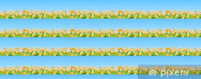 Tapeta na wymiar winylowa Żółte tulipany panoramiczne - Kwiaty