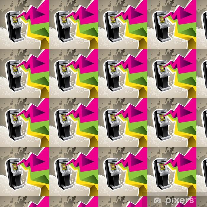 Carta da parati in vinile su misura Machine gioco arcade illustrato con l'astrazione colorato. - Spazio da decorare