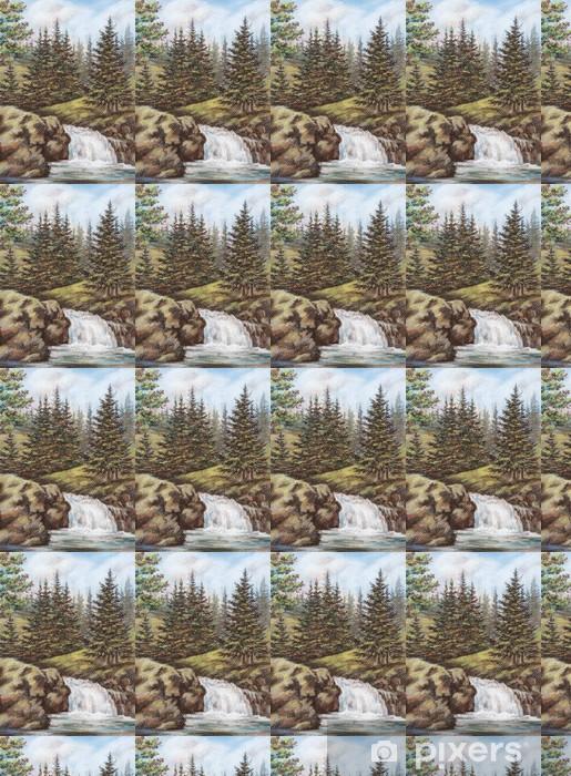 Papier peint vinyle sur mesure Rivière de montagne avec chutes - Saisons