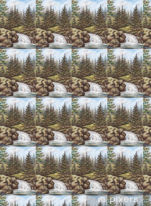 Mountain river with falls Vinyl custom-made wallpaper - Seasons