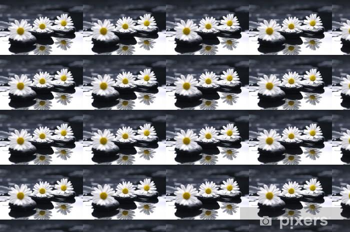 Vinyltapete nach Maß Therapie Steine mit Chrysanthemen Blumen - Naturwunder