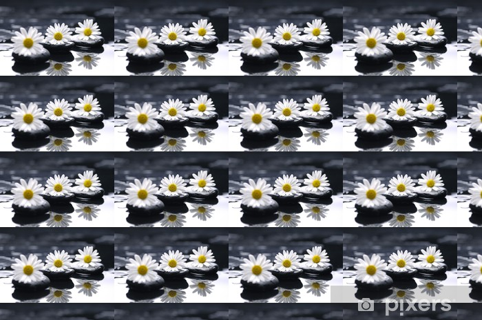therapy stones with chrysanthemums flowers Vinyl Custom-made Wallpaper - Wonders of Nature