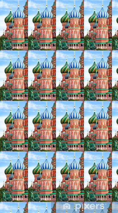 Domes of the famous Head of St. Basil's Cathedral on Red square, Vinyl custom-made wallpaper - Religion