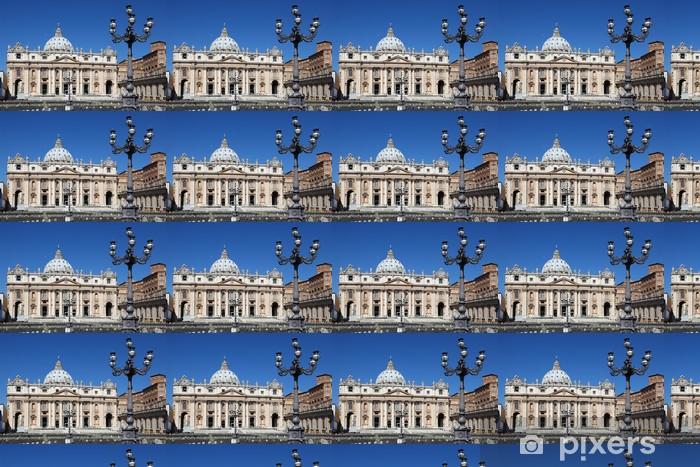 Tapeta na wymiar winylowa Muzeum Watykańskim w Bazylice Świętego Piotra w letni dzień w Rzymie - Europa