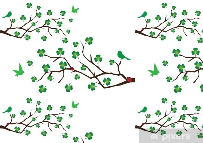 Vinyltapete Vektor-Filialen mit Kleeblatt und grüne Vögel - Wandtattoo