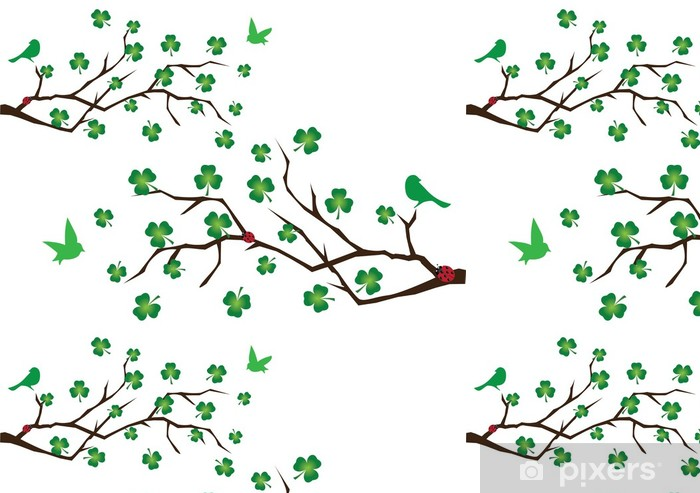 vector branches with shamrock and green birds Vinyl Wallpaper - Wall decals