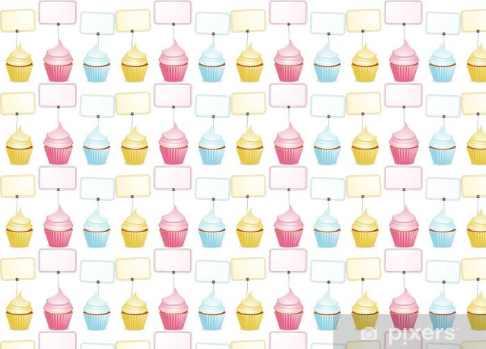 Papier peint vinyle sur mesure Cupcakes et étiquettes - Desserts et friandises