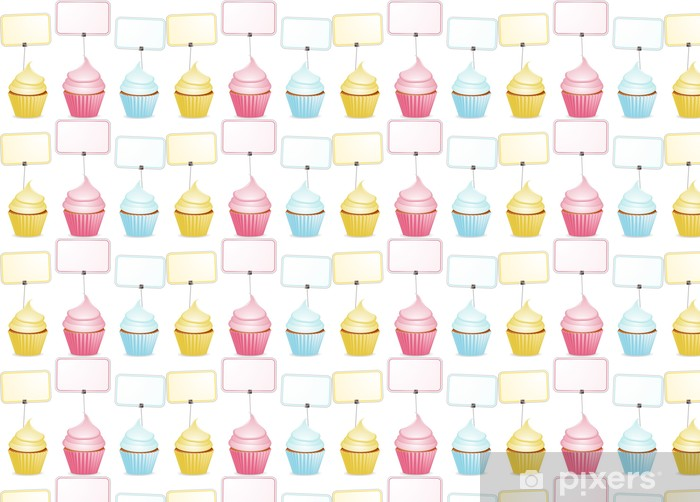 Cupcakes and labels Vinyl custom-made wallpaper - Sweets and Desserts