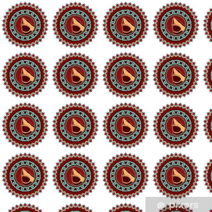 Özel Boyutlu Vinil Duvar Kağıdı Köpekbalığı ile gösterilen sanatsal amblemi. - Sualtı hayvanları