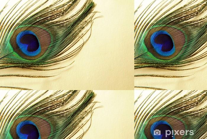 Papel de Parede em Vinil Feather of a peacock on a gold background - Pássaros