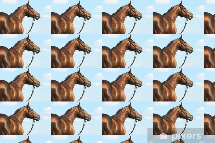 Papier peint vinyle sur mesure Châtaignier Don cheval étalon portrait - Sports individuels