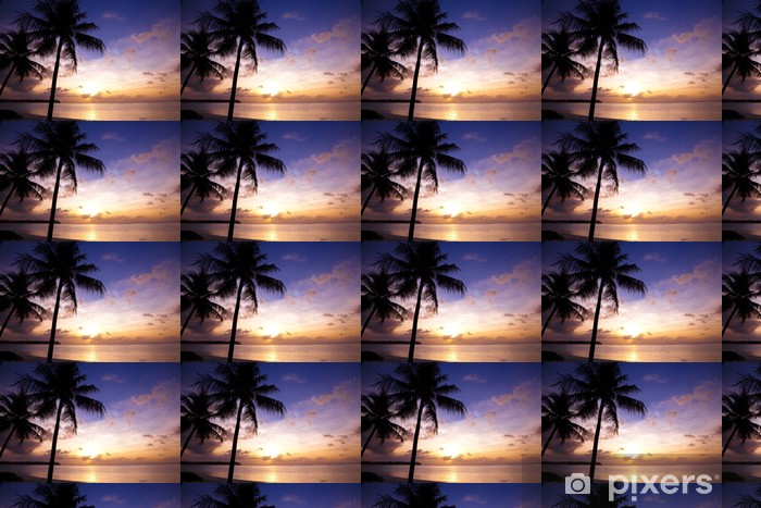Beautiful sunset on the tropic beach and coconut palms Vinyl custom-made wallpaper - Water
