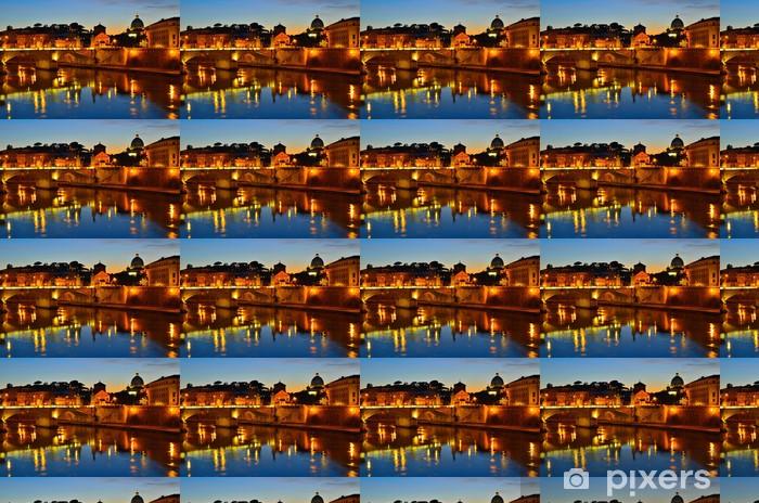 Carta da parati in vinile su misura Vista di notte sulla sul fiume Tevere, Roma - Vacanze