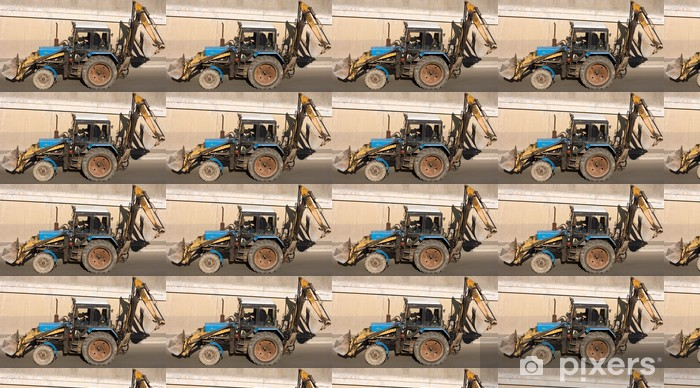 Papier peint vinyle sur mesure La construction de routes tracteur pelle pelle niveleuse - Industrie lourde