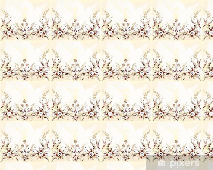 Papel pintado estándar a medida Frontera patrón floral - Fondos