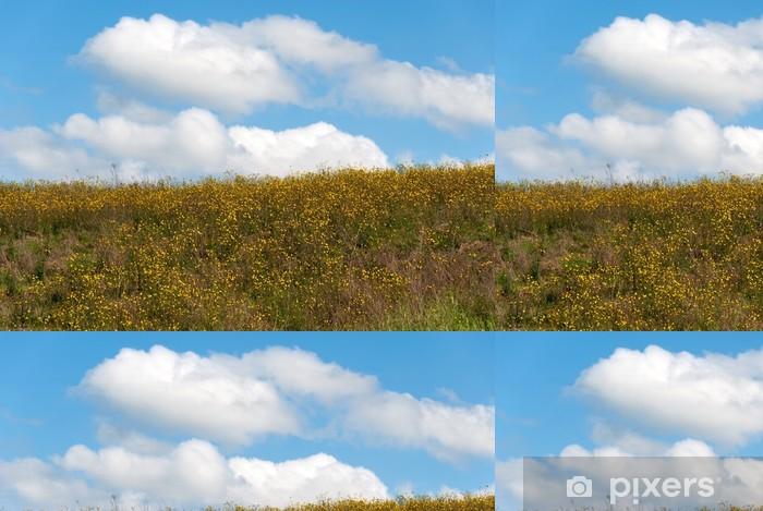 Vinylová Tapeta Fiori gialli e cielo Azzurro su una Collina in Toscana - Venkov