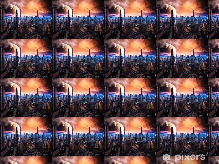 Papier peint vinyle sur mesure Neon Lit Cityscape sur World Distant - Espace