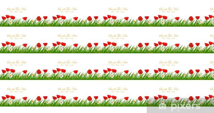 Papier peint vinyle sur mesure Contexte avec de beaux coquelicots rouges et plante. Vectoк - Arrière plans