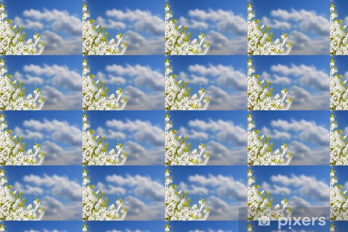 Papier peint vinyle sur mesure Direction avec des fleurs blanches - Arbres