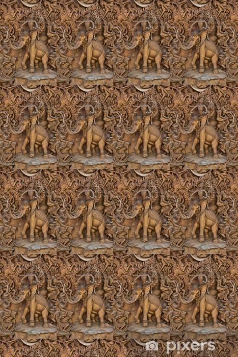 Papier peint vinyle sur mesure Bas-relief ciment style thaïlandais artisanat du Ramayana conte - Art et création