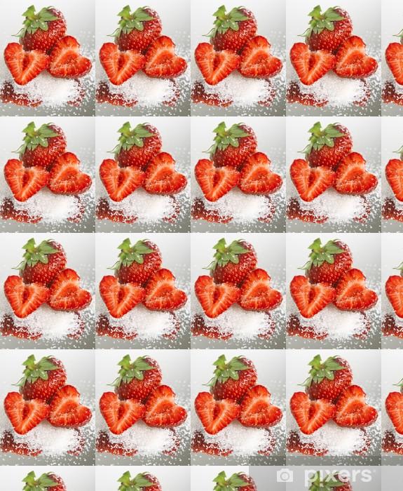 Tapeta na wymiar winylowa Czerwone truskawki z cukrem w lustrze odbicie - Tematy