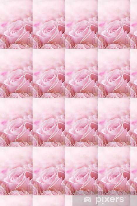 Vinyltapete nach Maß Rosa Rosen mit Tautropfen - Blumen