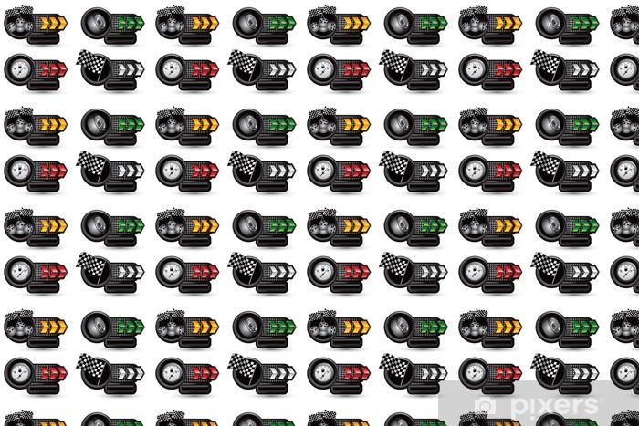 Vinylová tapeta na míru Závodní pneumatiky, vlajky, a plynoměr na šipku typovém štítku bannery - Extrémní sporty