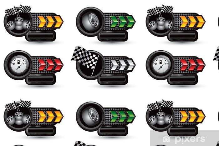 Vinylová Tapeta Závodní pneumatiky, vlajky, a plynoměr na šipku typovém štítku bannery - Extrémní sporty