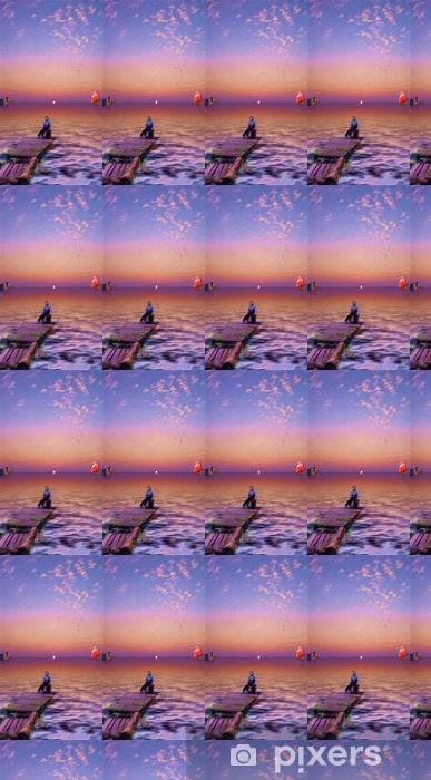 Papier peint vinyle sur mesure Assil, en attendant un bateau à voile avec des voiles rouges - Art et création
