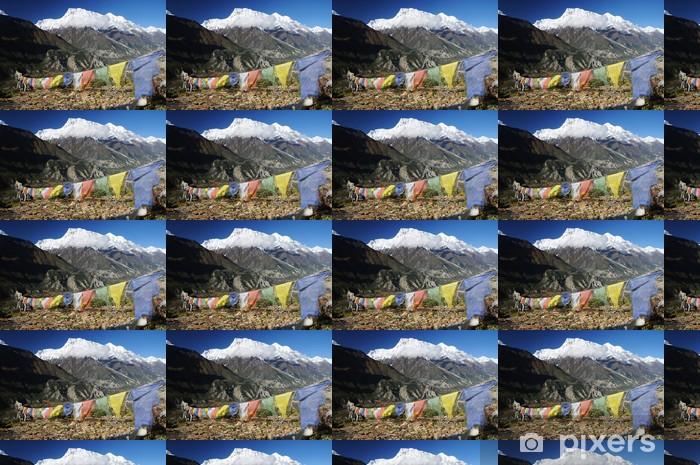 Vinylová tapeta na míru Annapurna špička s barevnými modlitební praporky, Nepálu - Témata