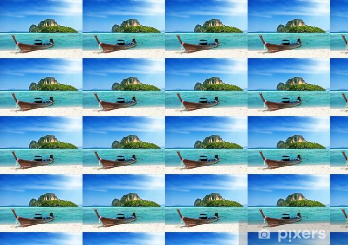 Papier peint à motifs vinyle À long bateau et île de Thaïlande - Eau