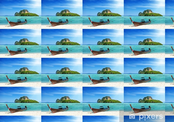 long boat and island in Thailand Vinyl custom-made wallpaper - Water
