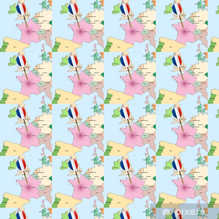Vinyl behang, op maat gemaakt Target - Frankrijk. Dart raken in Frankrijk op de kaart van Europa. - Thema's