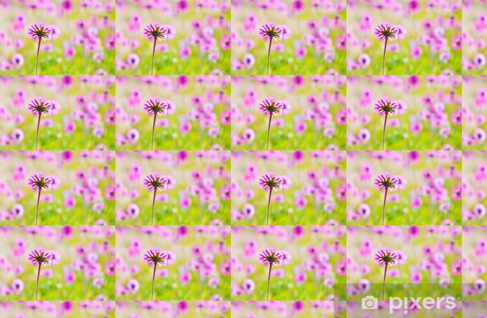 Carta da parati in vinile su misura Campo di fiori rosa - Texture