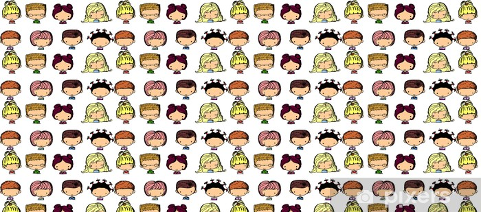Tapeta na wymiar winylowa Cartoon twarze dzieci - Części ciała