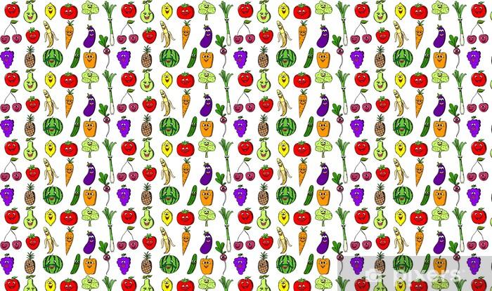 Papier peint vinyle sur mesure Установить мультфильм смешной фруктов - Repas