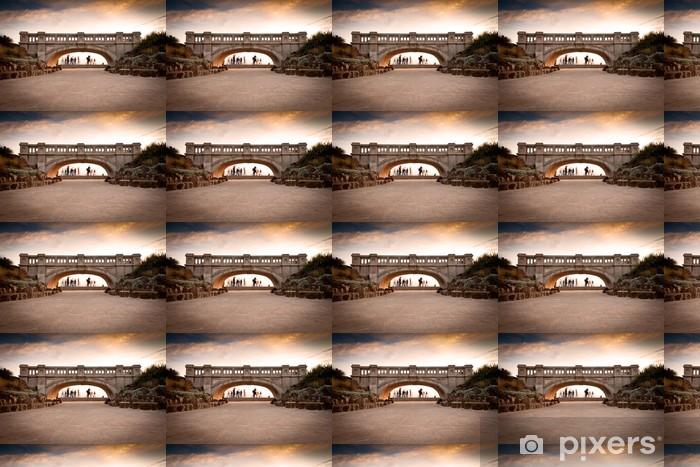 Papier peint vinyle sur mesure Pont Beach sunset - Eau