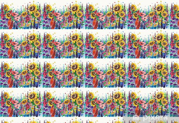 Papier peint vinyle sur mesure Fleurs d'été dans le jardin - Fleurs