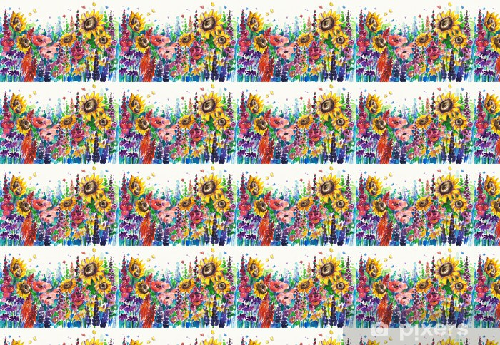 Summer flowers in garden Vinyl custom-made wallpaper - Flowers