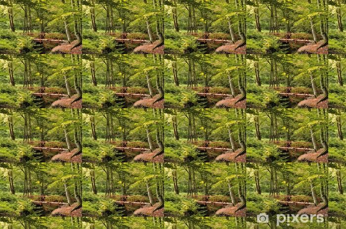 Wood Bridge in Forest Vinyl Custom-made Wallpaper - Seasons
