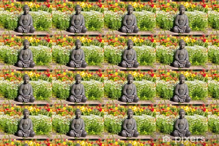 Papier peint vinyle sur mesure Bouddha dans le champ de fleurs - Signes et symboles