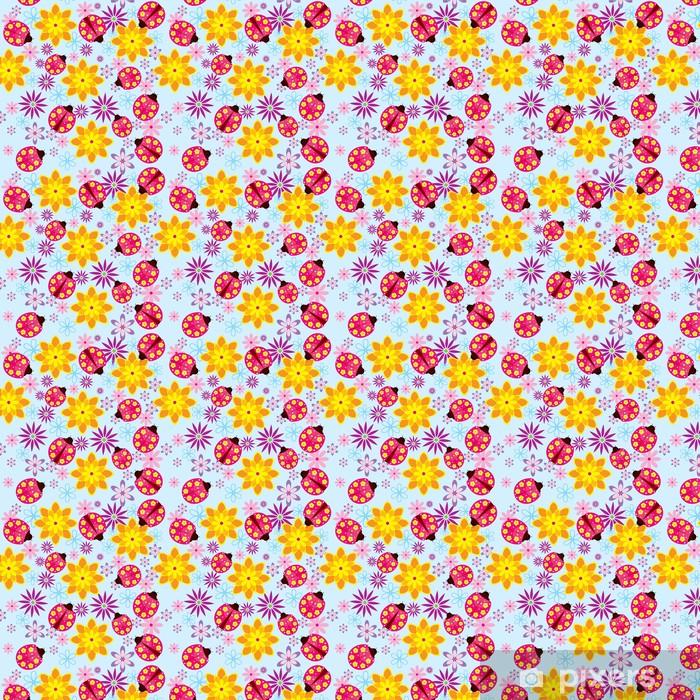 Papier peint vinyle sur mesure Fleurs Vector et coccinelles seamless - Saisons