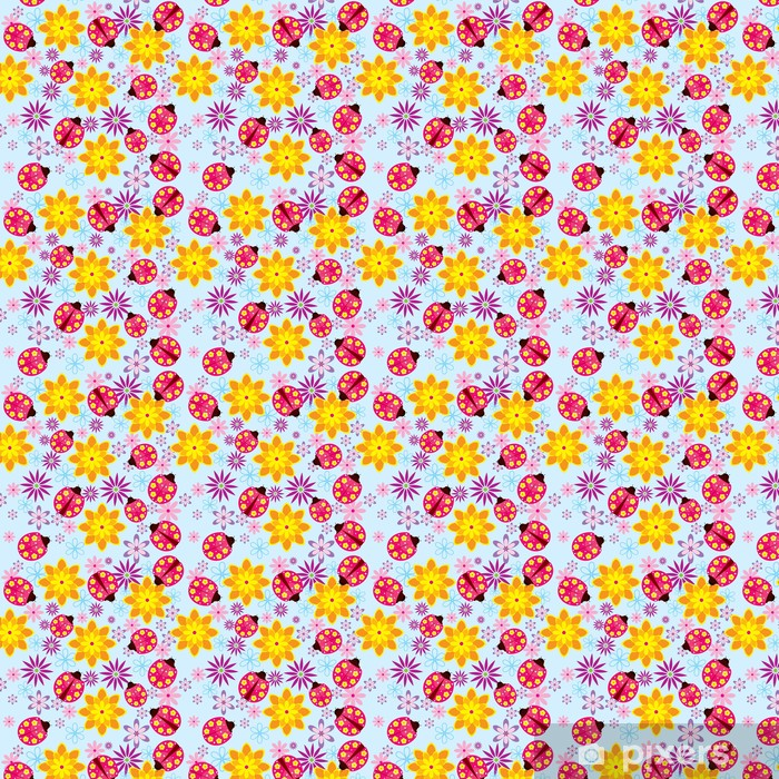 Tapeta na wymiar winylowa Kwiaty wektorowe i biedronki seamless pattern - Pory roku
