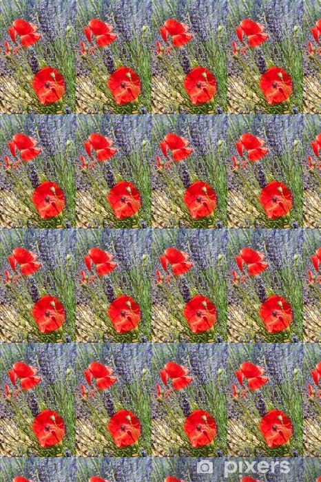 Papier peint vinyle sur mesure Lavande et Coquelicots rouges - Thèmes