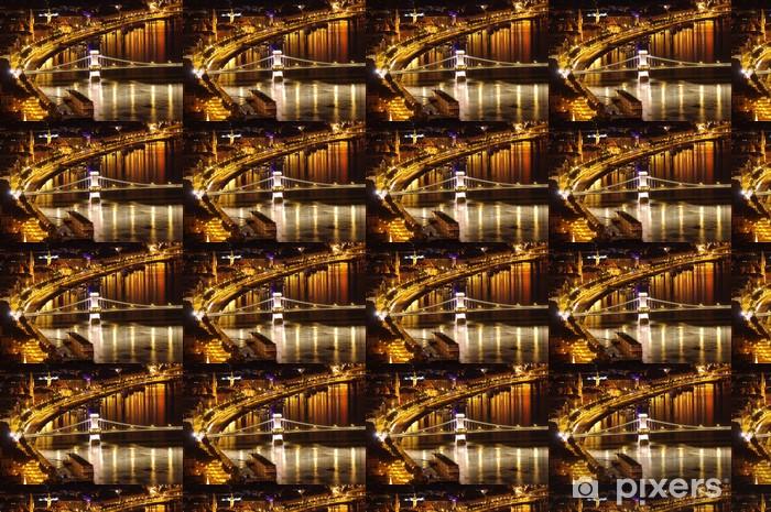 Danube night view, Chain Bridge, Budapest Vinyl custom-made wallpaper - Europe