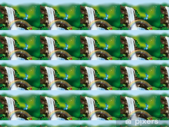 Vinyl behang, op maat gemaakt Cascata met arcobaleno - Gelukkig