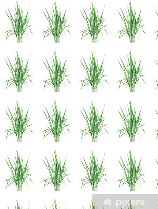 Papier peint vinyle sur mesure L'herbe verte sur fond blanc. - Plantes